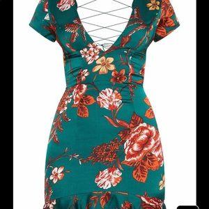 8e44f61182 pretty little thing Dresses | Emerald Green Criss Cross Back Dress ...